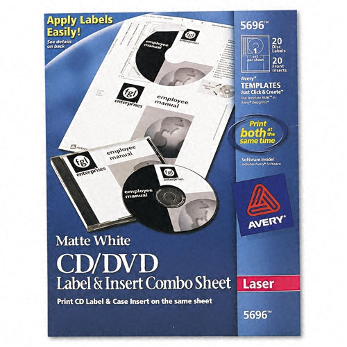 avery cd  dvd jewel case laser label  insert combo sheets