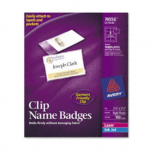 Avery clip style badge holders ave74556 for Avery id badge template