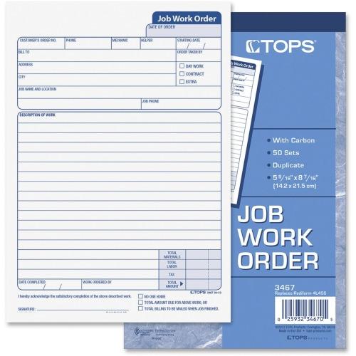 TOPS 3467 Job Work Order Form - TOP3467 - Shoplet.com