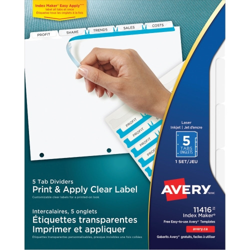 Avery index maker clear label divider with tabs ave11416 for Avery easy apply 5 tab template