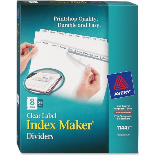avery index maker clear label divider ave11447 shopletcom With clear labels for label maker