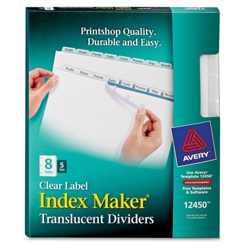 Avery index maker easy apply clear label divider for Avery 8 tab clear label dividers template